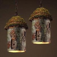 Лофт Стиль подвесной светильник творческий кабина подвесной светильник личность бар Винтаж подвесной светильник смолы Материал Книги по и