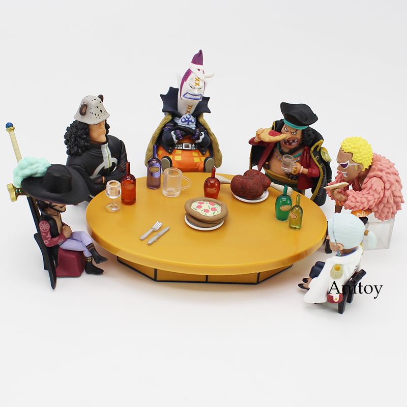 Anime One Piece Seven Warlords of the Sea Conference Table set + Members PVC Figures ToysAnime One Piece Seven Warlords of the Sea Conference Table set + Members PVC Figures Toys