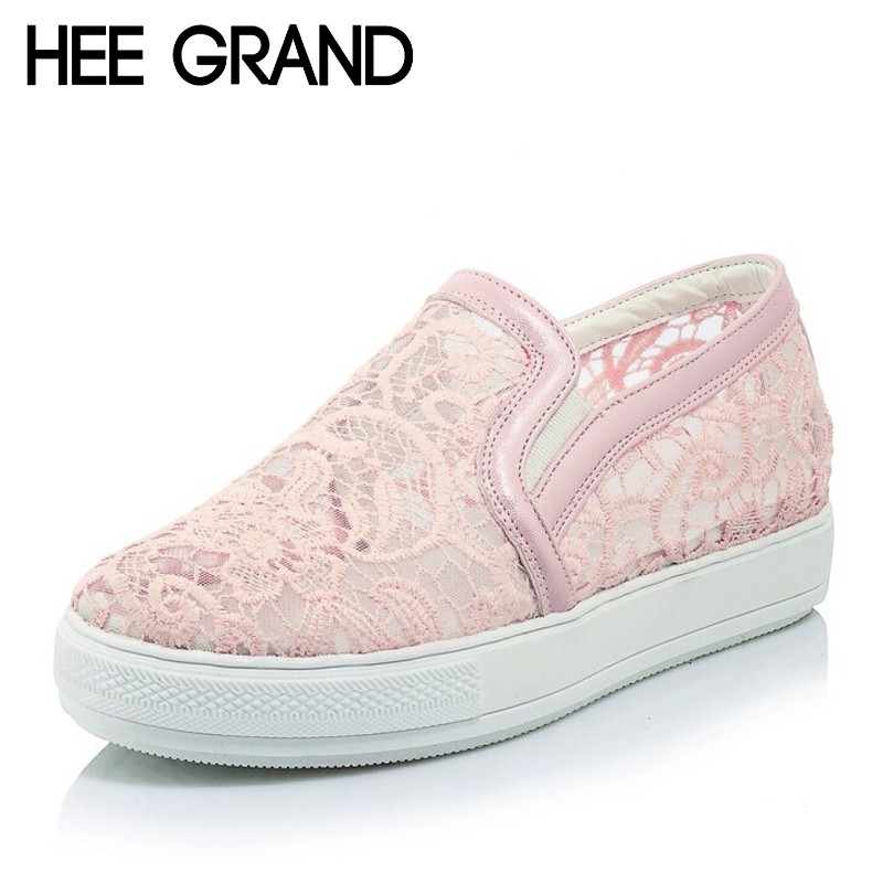 HEE GRAND Casual Women Loafers Platform Slip On Flats Shoes Woman Floral Lace Ladies Flat Canvas Shoes Size Plus 35-43  XWD3707 hee grand summer gladiator sandals 2017 new platform flip flops flowers flats casual slip on shoes flat woman size 35 41 xwz3651