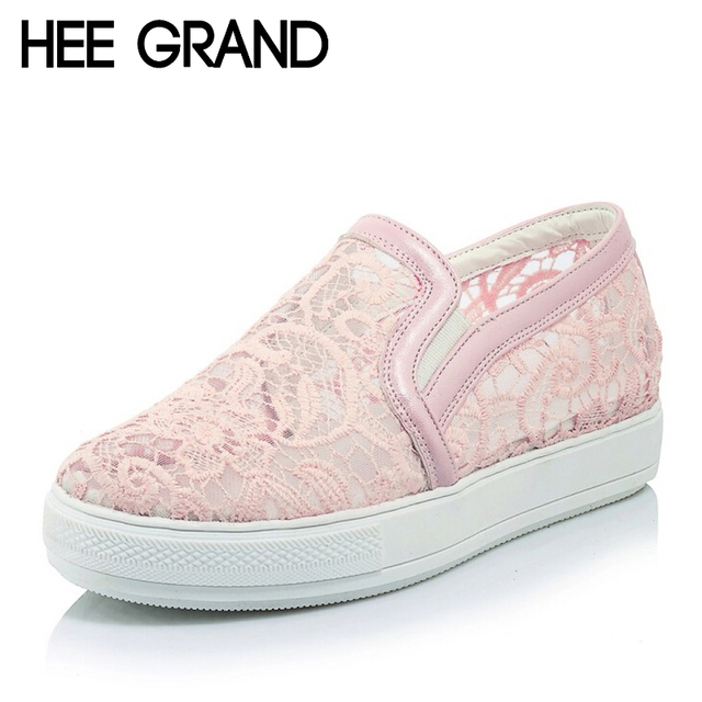 HEE GRAND Casual Women Loafers Platform Slip On Flats Shoes Woman Floral Lace Ladies Flat Canvas Shoes Size Plus 35-43  XWD3707
