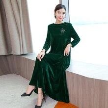 Long sleeve velvet dress women maxi elegant plus size large green winter autumn 2018 vintage party robe dresses black clothes