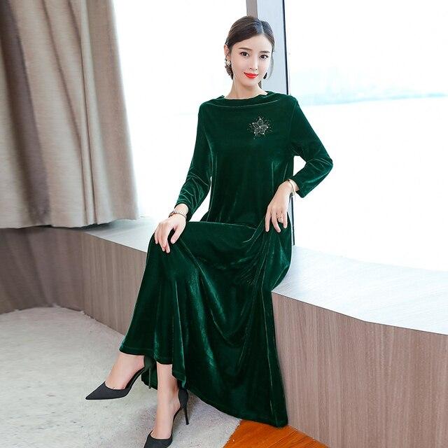Long sleeve velvet dress women maxi elegant plus size large green winter  autumn 2018 vintage party robe dresses black clothes a07c30d22d1c
