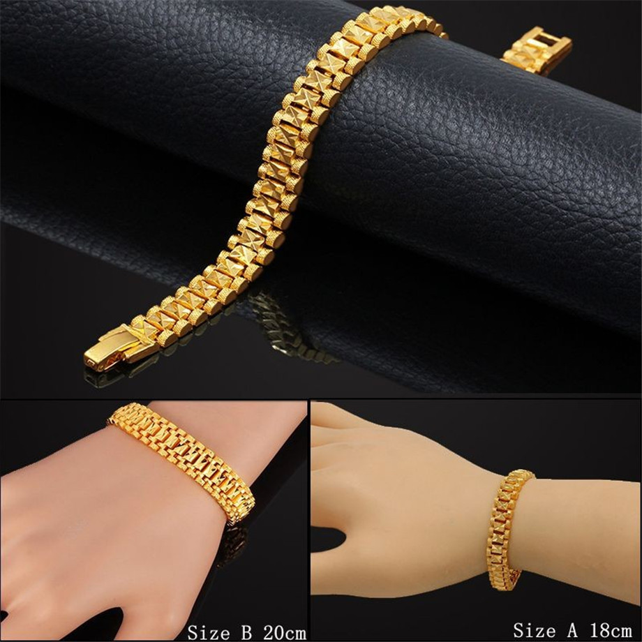 Chunky Mens Hand Chain Bracelets Male Wholesale Bijoux Silver/Gold Color Chain Link Bracelet For Men Jewelry pulseira masculina 5