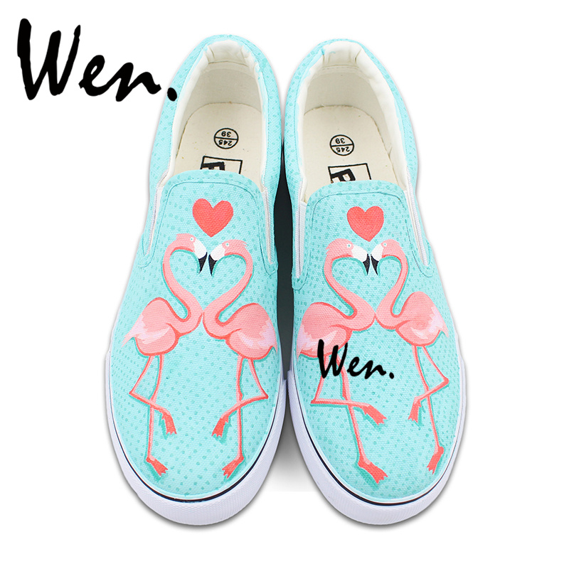 Wen Flamingo Bird Original Design Slip On Hand Painted Shoes Loving Heart Custom Canvas Sneakers for Man Woman Gifts wen original hand painted canvas shoes space galaxy tardis doctor who man woman s high top canvas sneakers girls boys gifts