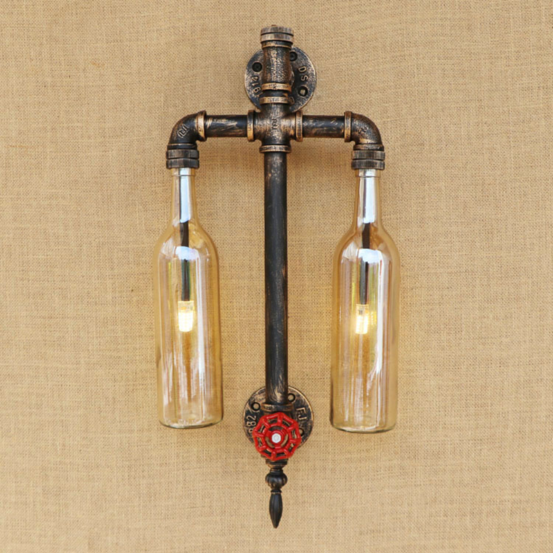 Vintage Glass Shade Pipe Wall Lamp LOFT Livingroom Wall Light With G4 LED BULB Bedroom Light Foyer  Decoration Sconce   Fixture willlustr fabric wall lamp beige cloth light europe bronze lighting fixture bedside claridge double sconce with linen shade