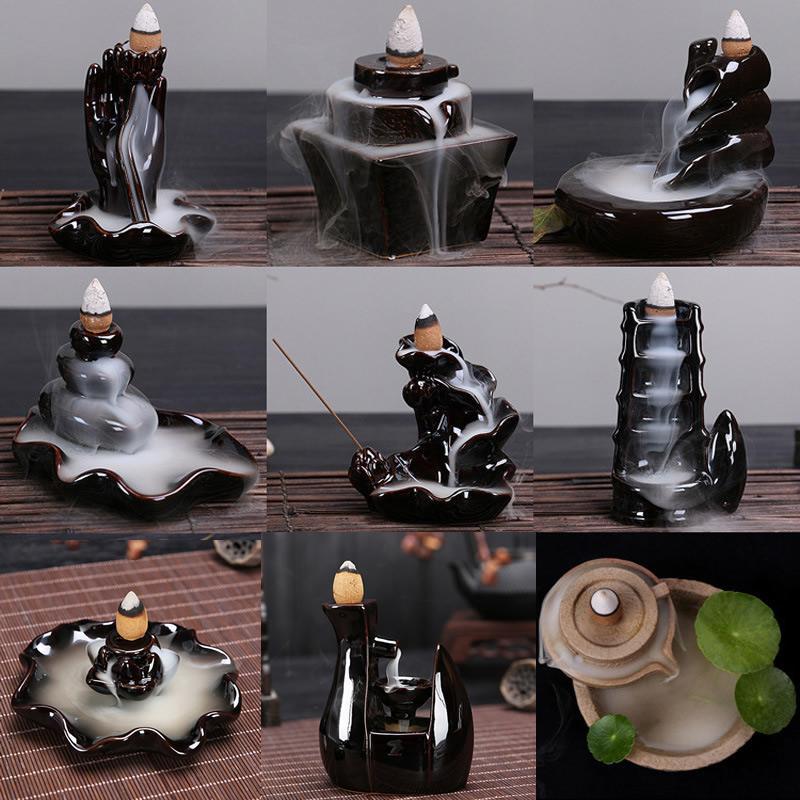 Backflow Incense Burner Waterfall Incense Cone Sticks Holder Home Decor Porcelain  Buddha Hand Reflux Censer Ceramic Aroma Stove|Incense & Incense Burners| |  - title=