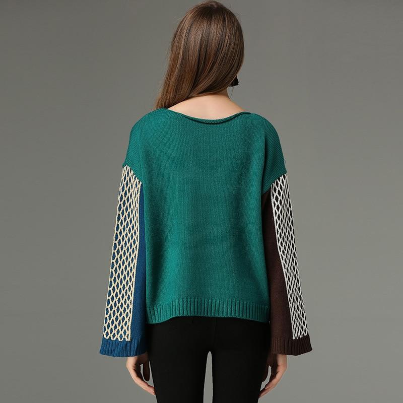 Green Slit Twisted Long Sweater Liva Femme khaki Girl Colorblock Pull Women's Cuffs Trumpet Sweaters Sleeve Twist Knitted XzAZAwnx8