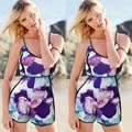 Hanyige Loja 2016 Mulheres Sexy Strap Imprimir Jumpsuits Rompers Casual Vintage Curto Praia Playsuit Macacões Plus Size S-XXL L833