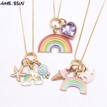 MHS. SUN модное ожерелье с подвеской в виде радужных сердец, морских звезд, Очаровательная подвеска для девочек, ожерелье с длинной цепочкой, милые ювелирные изделия для детей