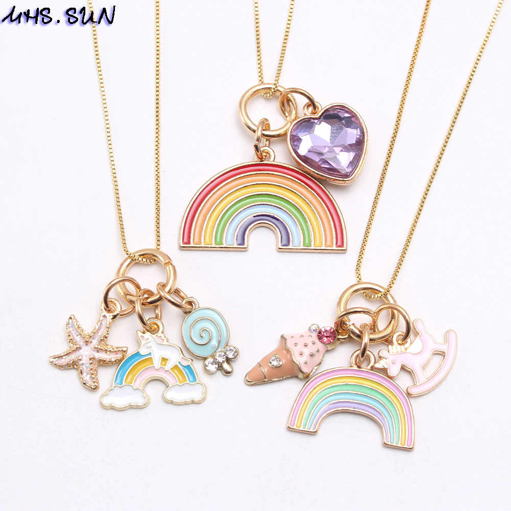 MHS.SUN Fashion Rainbow Heart Starfish Pendants Necklace Kids Girls Charming Pendant Long Chain Necklace Cute Jewelry For Child