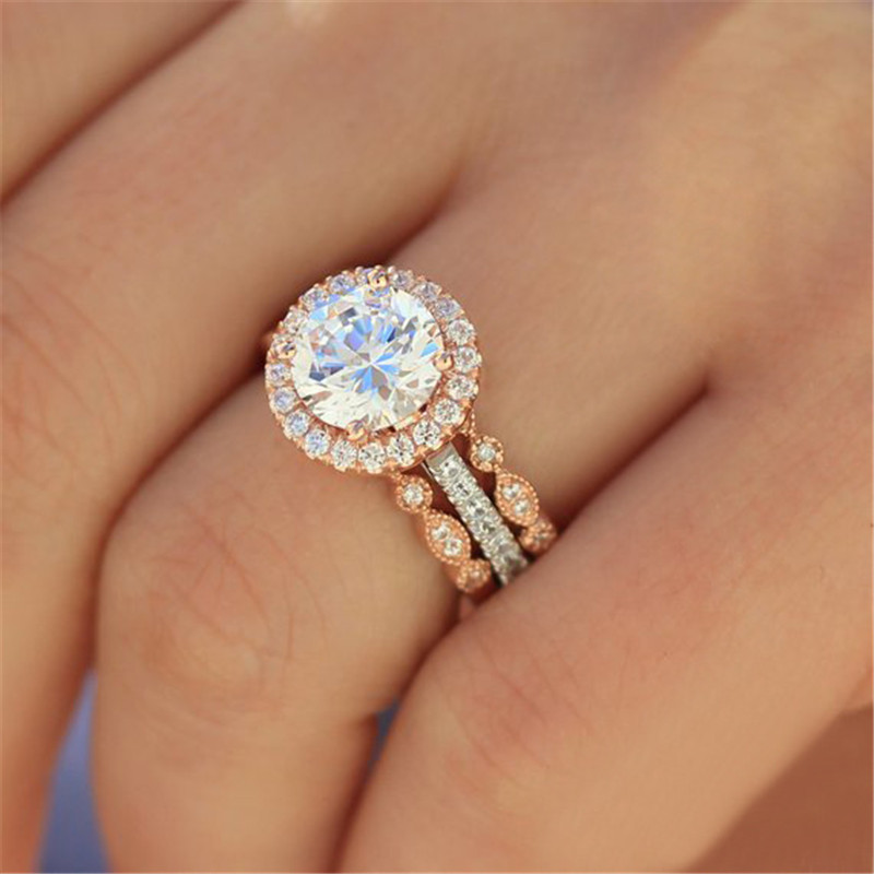 Modyle New Rose Gold Color Ring Set Round Zircon Rings For Women CZ Crystal Rings Wholesale(China)