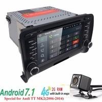 Najlepszy Android 7.1 radio samochodowe radioodtwarzacz dla Audi TT 2 GB RAM odtwarzacz multimedialny HD BT GPS radia samochodowego systemu dla Audi TT MK2 (2006-2014