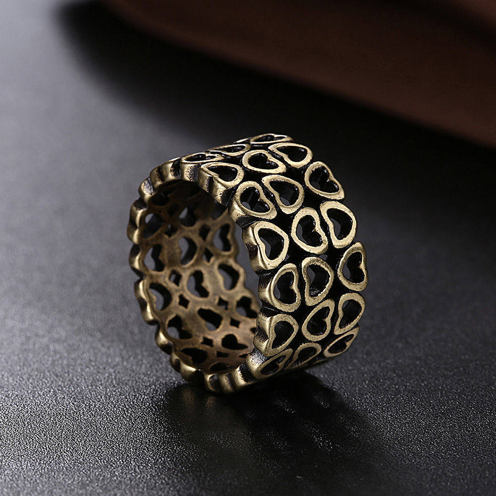 11mm Punk Boho Vintage Heart Antique Bronze Plated Women Men Wedding Engagement  Ring Jewelry