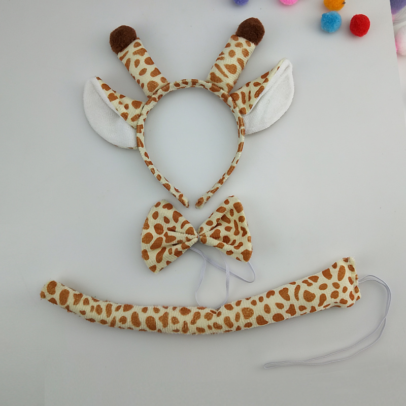 Children Adults Animal Giraffe Headband Bow Tie Tail Cosplay 3pcs Set Performance Props Birthday Party Gift Costume Christmas