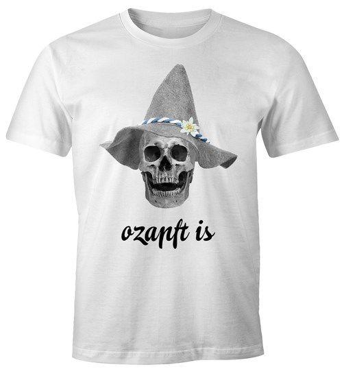 01a9311c5b7661 Oktoberfest T-Shirt Herren ozapft is Totenkopf Filzhut Bayrisch Bayern Skull