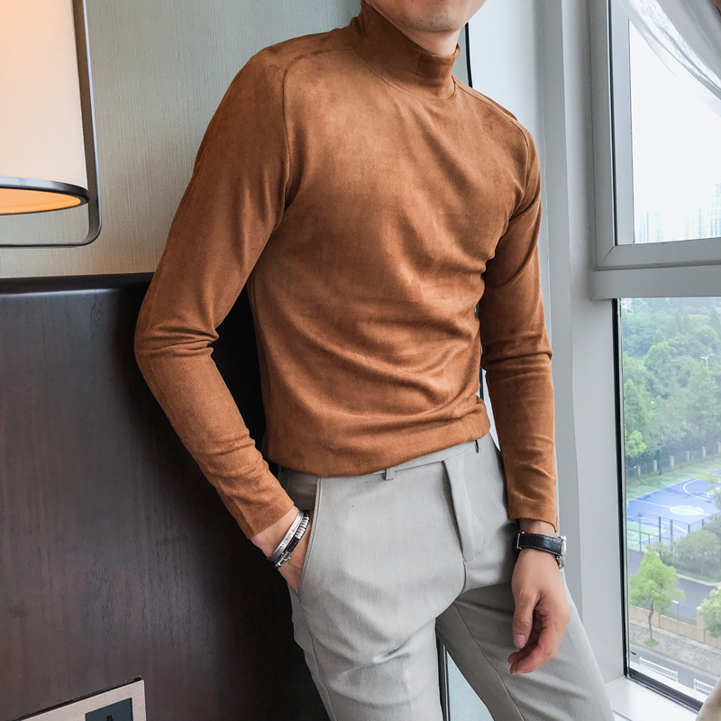 High Quality Men T Shirt Brand New Slim Fit Casual Suede Half High Collar T Shirts Mens Long Sleeve Simple Tee Shirt Homme 3XL M