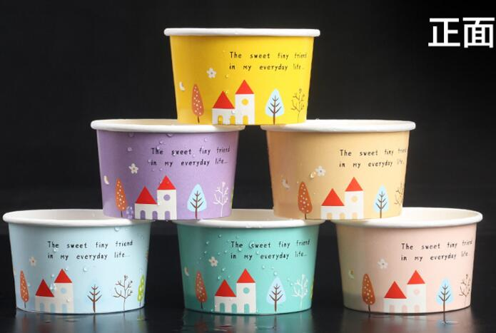 disposable ice cream paper cup thickening yogurt ice cream paper bowl packaged bowl 100 set