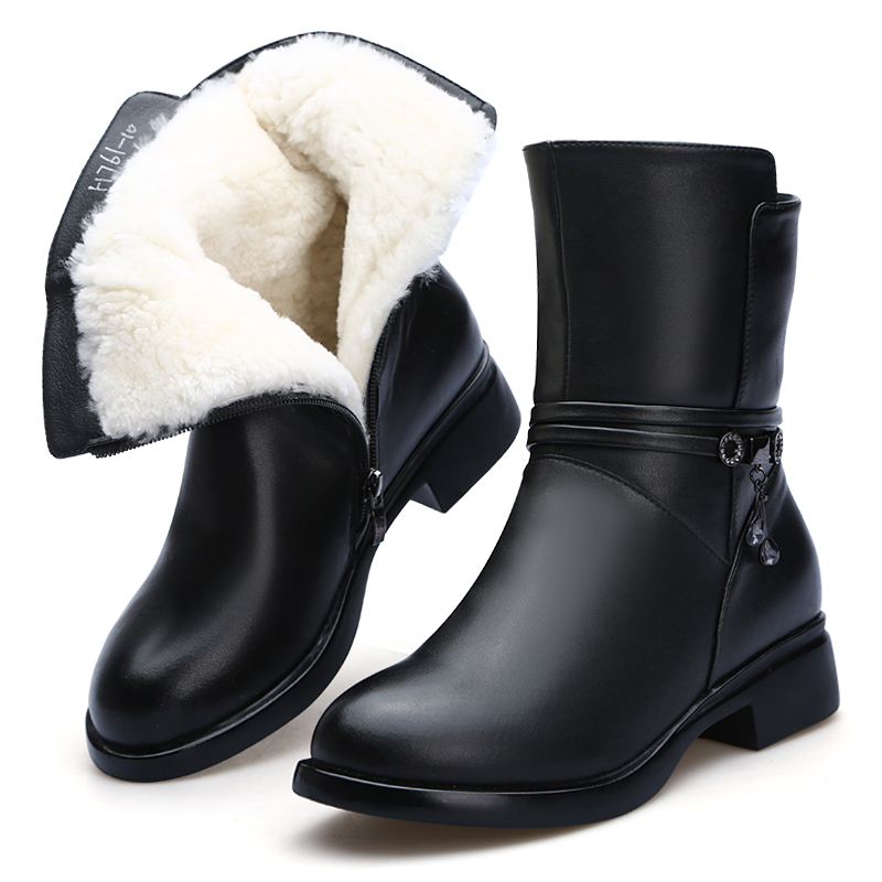 Hot 2018 New fashion Winter Boots Women shoes snow Boots Comfort Women Warm Shoes Wool boots Non-slip Soft Cowhide Leather boots 2015 new arrival fashion women winter snow boots warm ladies shoes bowtie slip on soft cute shoes purple color sweet boots
