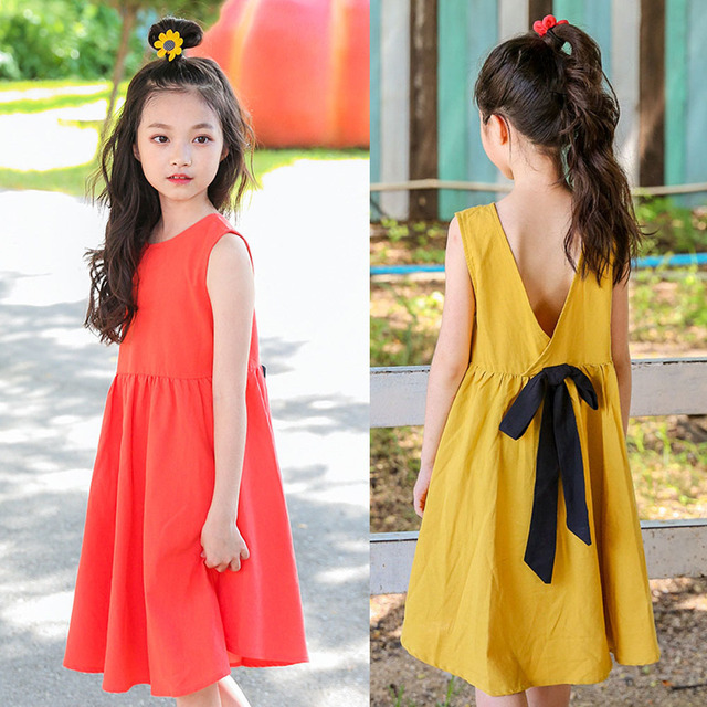 5144f6e723dde backless cotton teenage dress girls summer kids solid yellow red little  girls dresses summer 2018 size 10 14 15 8 6 5 7 sundress
