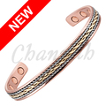 Channah 2017 Unisex 3-Tone Gold Silver Magnetic Bangle Powerful Health Copper Healing Bracelet Jewelry Gift Free Shipping Charm
