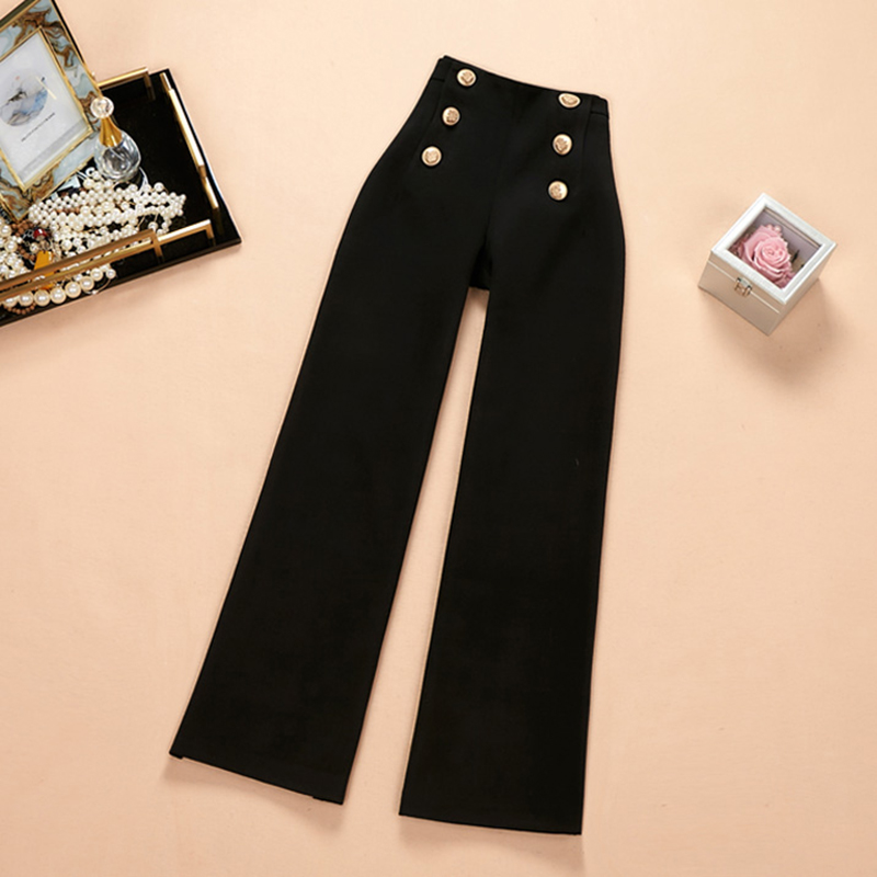 2018 Elegant Women All-match Asian Style Winter Thick Staight   Pants   Buttons Zipper Fly Solid Color Fashion Trousers   Capris