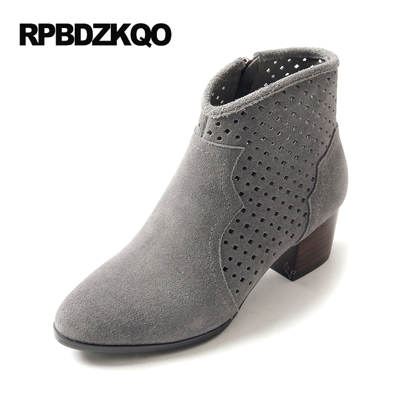 Cut Out Cutout Ankle Side Zip Boots Booties Genuine Leather High Heel Round Toe 2017 Ladies Autumn Shoes Fall Grey Women Chunky cut out ring detail zip leggings