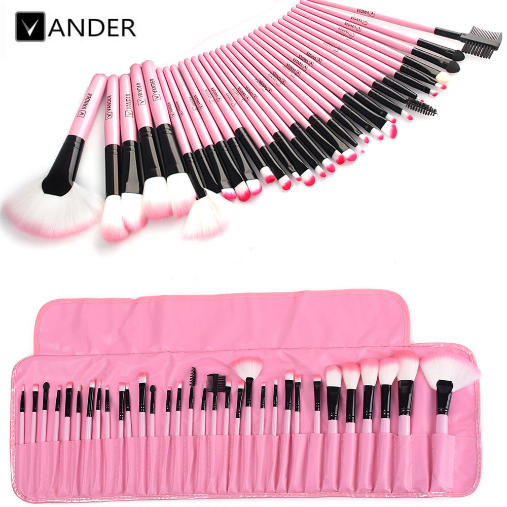 Vander Professional 32Pcs Cosmetic Makeup Make Up Brush Brushes Set Foundation Blush Eyeliner Lip Beauty Kits w/ Pink Roll Bag professional cosmetic make up foundation soft brush black pink