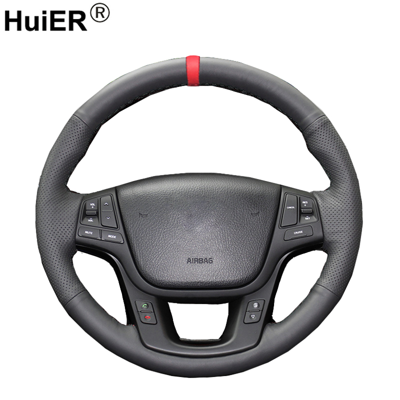 HuiER Hand Sew Car Steering Wheel Cover Red Marker For Kia Sorento 2009-2014 Kia Cadenza K7 2011-2015 Steering-Wheel Car Styling