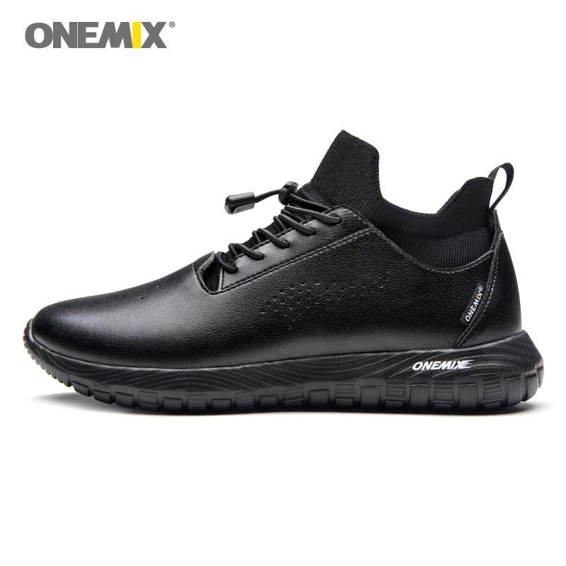 ONEMIX Men Running Shoes For Women Black Microfiber Leather Designer Trail Jogging Sneakers Outdoor Sport Walking Socks Trainers