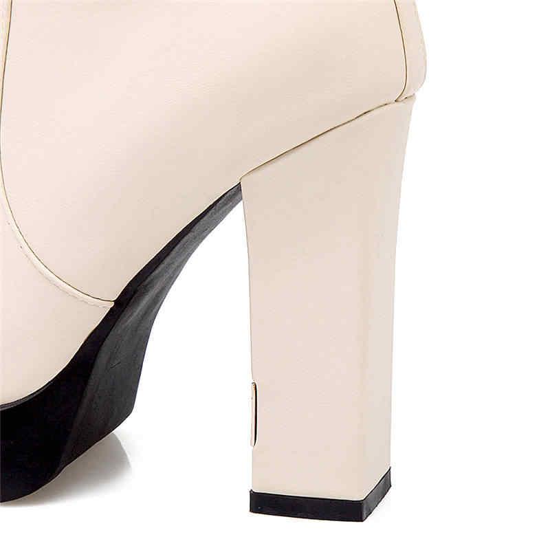 Morazora 2020 Hàng Mới Về Giày Nữ Mũi Tròn Đế Giày Dây Kéo Đinh Tán Đầu Gối Giày Cao Gợi Cảm Cao Gót Đám Cưới giày