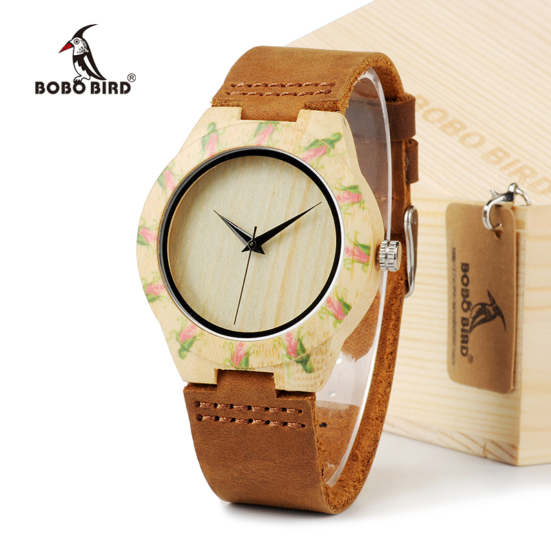 BOBO BIRD E01 Women's Top Design Brand Luxury Wooden Bamboo Dress Watches With Real Leather Quartz Ladies Watch in Gift Box bobo bird v o29 top brand luxury women unique watch bamboo wooden fashion quartz watches