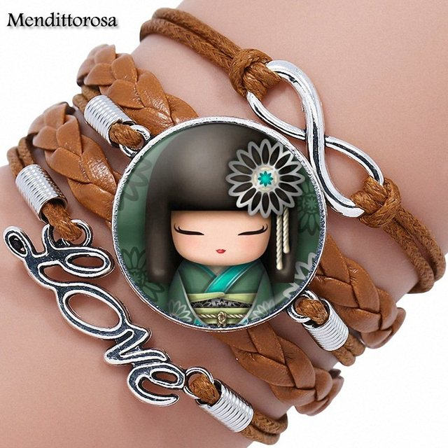 Cute Japanese Kokeshi Doll Glass Cabochon Anime Jewelry With Multilayer Black/Brown Leather Bracelet Bangle For Girls Best Gift