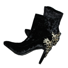 winter women crystal boots luxury women velvet high heel 9 cm boot lady pointed toe square thin heel shoes stretch ankle boot цена