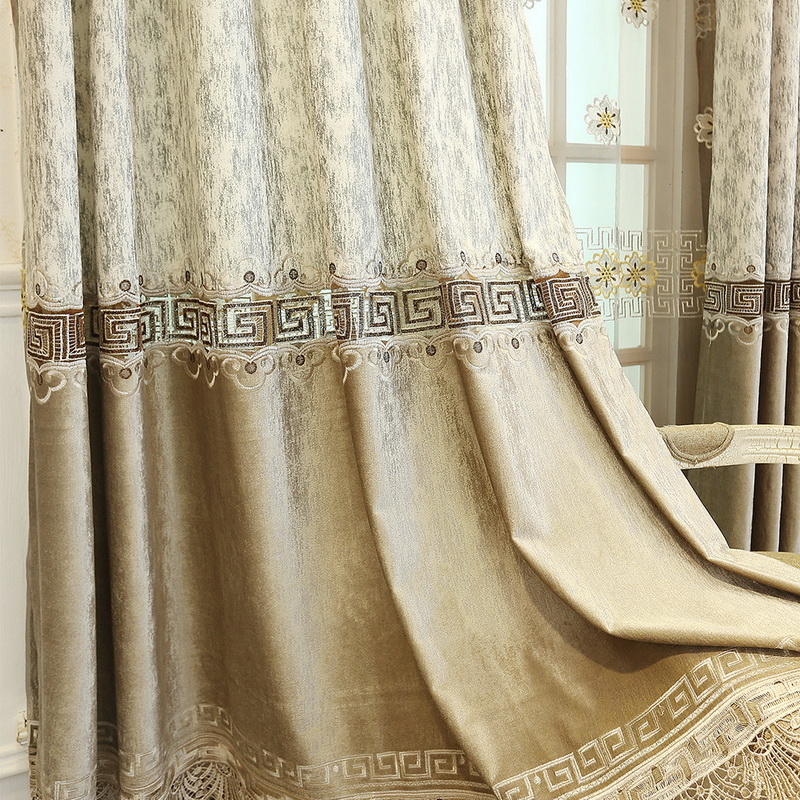 New Chinese-Style Luxury Embroidered Curtains For Living Room Bedroom Coffee Stitching Blackout Curtain Fabric Finished  M017#4