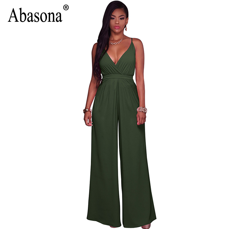 Abasona Women Jumpsuits Sexy V Neck Backless Wide Leg Jumpsuit Rompers Casual Women One Piece Long Pants Summer Female Trousers