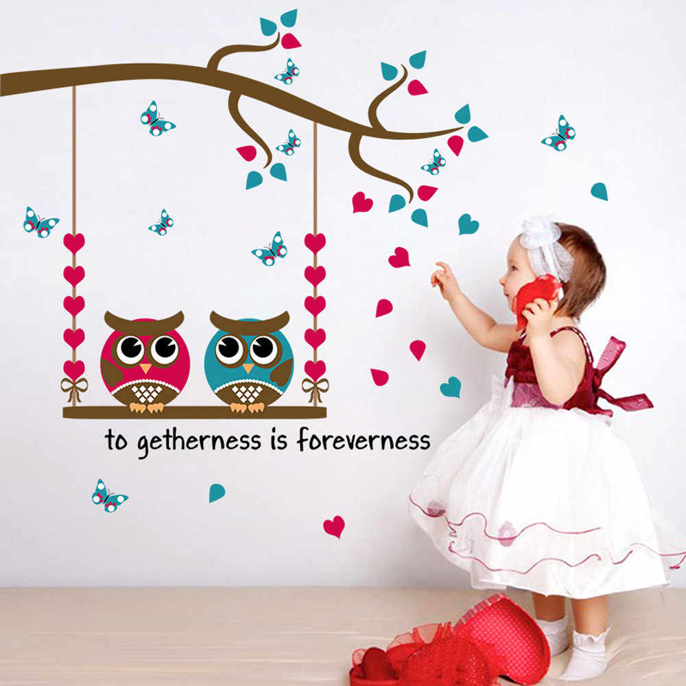 Wall Stickers Home Decor Cartoon Owl Birds Branch Removable Kids Decor Mural Wall Stickers Decal @028