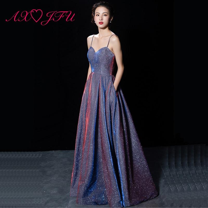 AXJFU luxe princesse violet brillant spaghetti sangle robe de soirée vintage scène hôte glace soie dentelle rose fête robe de soirée