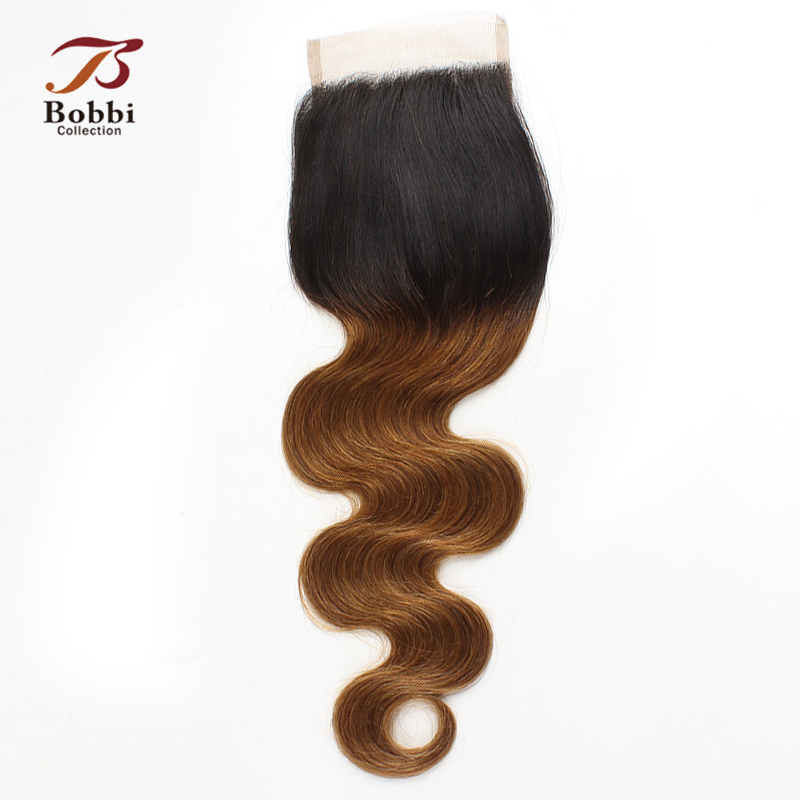 T 1B 30 Lace Closure Ombre Brown Auburn Brazilian Body Wave Non Remy Human Hair 4*4 Closure Free Part Middle Part Three Part