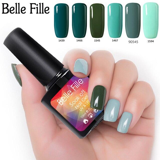 Belle Fille Green Gel Nail Polish 10ml UV LED Gel For Nails Soak Off ...