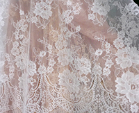 Off White Red Skin Ivory Venice Embroidered French Eyelash Bridal Lace Fabric 3 Meters One Piece