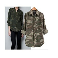 New Women S Fashion Camouflage Rivet Long Sleeve Shirt Ladies Studded Pocket Military Style Blouse Tops