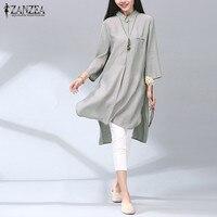 ZANZEA 2016 Elegant Blusas Vintage Cotton Long Shirts Casual Loose Lapel 3 4 Sleeve Split Irregular