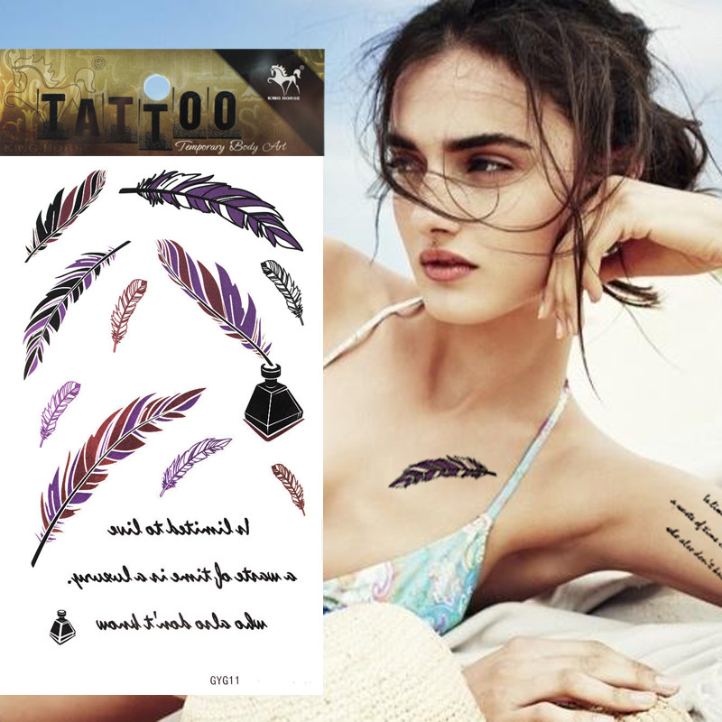1pcs Luminescent Tattoo Purple Feather Design Words Temporary Tattoo Sticker Women Body Art