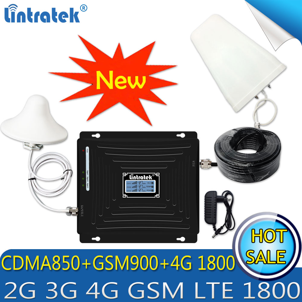 Lintratek CDMA 850/GSM 900 /DCS LTE 1800 Tri-Band Cellular Cell Phone Signal Repeater 2G 3G 4G LTE 1800Mhz Booster Amplifier