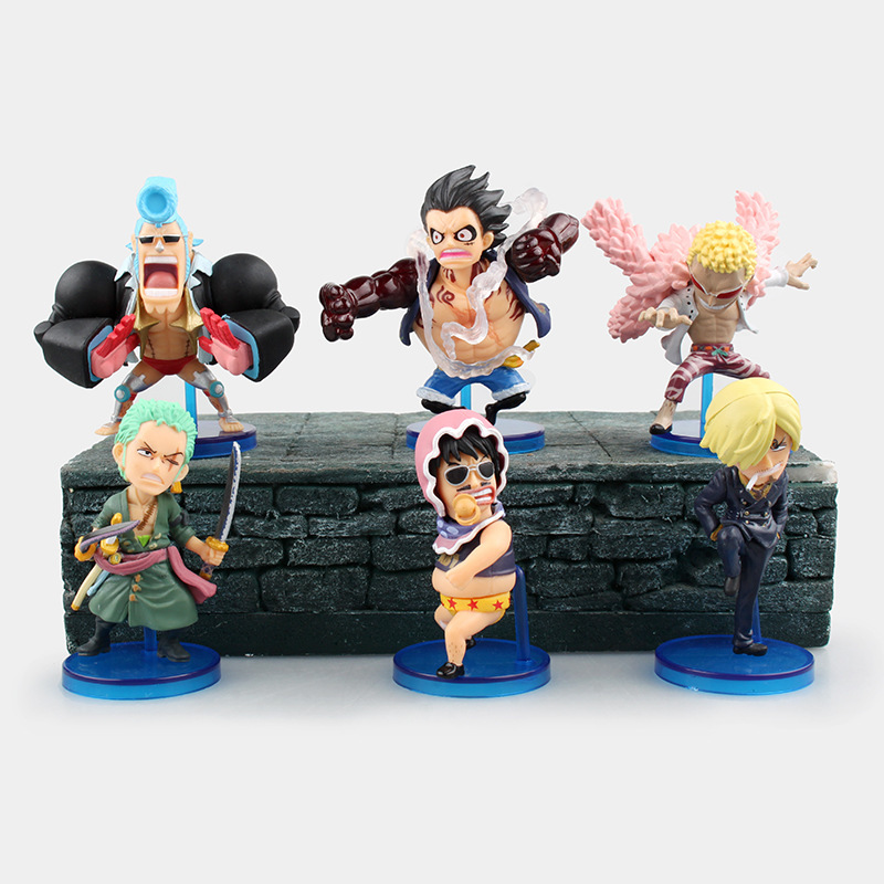 6 Pcs Set One Piece Action Figure Anime Franky Donquixote Doflamingo Luffy Gear 4 WCF Fight
