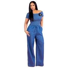 6213148db8b Autumn Women Denim Loose Jumpsuit Blue Long Pant 2018 Fashion Fold Top Playsuit  Women Clothing Working
