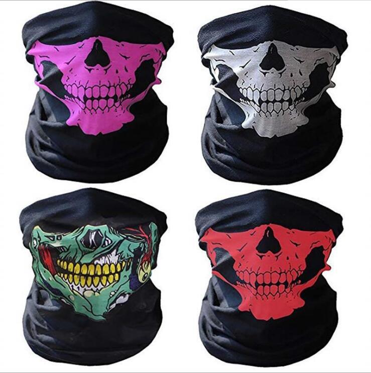 Skull Masks Skeleton Outdoor Motorcycle Bike Multi-Function Half Face Neck Warmer Mask Scarves Halloween Festival Mask