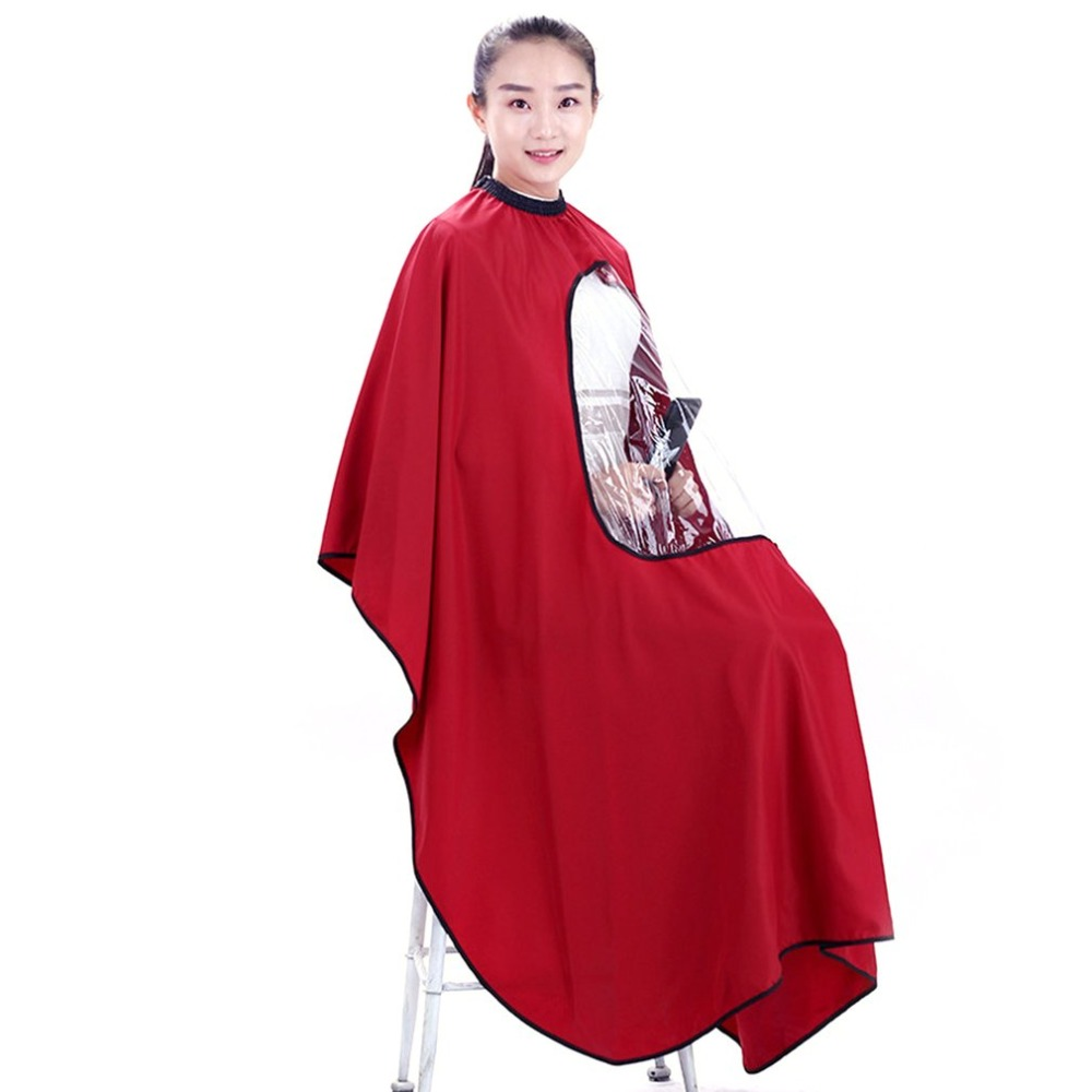 Salon Barber Hair Cutting Haircut Cape Hairdresser With Clear Transparent Viewing Window For Hair Cutting Coloring Barber Cape