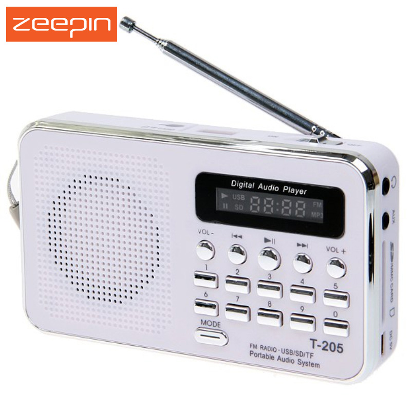 Hot Sale T-205 FM Radio Portable HiFi Card Speaker Digital Multimedia MP3 Music Loudspeaker White Camping Hiking Outdoor Sports