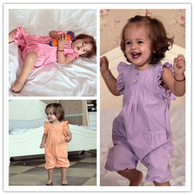 Online Wholesale Baby Girl Short Sleeve  Romper  Pink / Purple / Orange Cotton Kids Summer Wear New Arrival Free Shipping